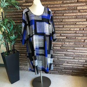 Lane Bryant Cobalt Blue Black Striped Swing Dress